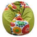 Kiwizöld-virágos csepp alakú babzsi, Bútor, Otthon, lakberendezés, Babzsák, Csepp alakú, hat cikkből álló fotel, extra minőségű textilből,  felnőtteknek és gyerekeknek egyaránt..., Meska
