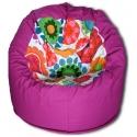 Virágos-pink babzsák, Bútor, Otthon, lakberendezés, Babzsák, Varázslatos színek, felülmúlhatatlan kényelem. Fotel fazonú babzsi, mely kiterítve pocolásra is rem..., Meska