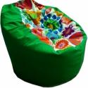 Virágos-zöld babzsi, Bútor, Otthon, lakberendezés, Babzsák, Varázslatos színek, felülmúlhatatlan kényelem. Fotel fazonú babzsi, mely kiterítve pocolásra is rem..., Meska