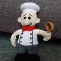 Horgolt szakács, Játék, Játékfigura, Horgolás, Horgolt, amigurumi technikával készült szakács figura, mértete kb 25 cm. Más szakmabeli is kérhető...., Meska