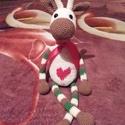 Horgolt amigurumi zsiráf, Játék, Játékfigura, Horgolás, Horgolt, amigurumi technikával készült zsiráf, szív alakú piros mintával a hasán, mérete kb 40 cm. ..., Meska