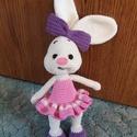 Horgolt nyuszi masnival, Játék, Játékfigura, Baba játék, Horgolás, Horgolt, amigurumi technikával készült rózsaszín ruhás nyuszi masnival, igény szerinti szín kombiná..., Meska