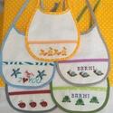 Előke babáknak (hángedli), Baba-mama-gyerek, Baba-mama kellék, Hímzés, Varrás, Keresztszemes varrással készítettem a mintákat, és a feliratot. Fehér frottír anyagra varrtam fel, ..., Meska