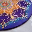 Csillagőszirózsa, Dekoráció, Esküvő, Otthon, lakberendezés, Kép, Selyemfestés, 25 cm átmérőjű selyem mandala saját tervezésű minta Azúrkék, illatos mandarin és őszi lila színek A..., Meska
