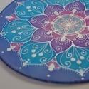 Clematis, Dekoráció, Esküvő, Otthon, lakberendezés, Kép, Selyemfestés, 25 cm átmérőjű selyem mandala saját tervezésű minta Hűsítő azúrkék és lila színek Azt mondják, mind..., Meska