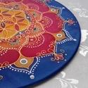 Napkorong, Otthon, lakberendezés, Esküvő, Falikép, 25 cm átmérőjű selyem mandalakép, fémkarikára feszítve A mandalák színeikkel, ismétlődő koncentrikus..., Meska