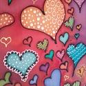 Szívbuborékok, Baba-mama-gyerek, Dekoráció, Gyerekszoba, Baba falikép, Selyemfestés, 30x30 cm-es selyemkép a szivárvány minden színében. Harmónikus színeivel, formáival kedves és szép ..., Meska