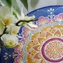 Törökszegfű, Dekoráció, Esküvő, Otthon, lakberendezés, Falikép, Selyemfestés, 25 cm-es selyemkép elegáns kék, rózsaszín és napsárga színekben. Azt mondják, mindenki ösztönösen o..., Meska