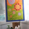 Vadvirágok, Otthon, lakberendezés, Esküvő, Falikép, Selyemfestés, 50x70 cm-es selyemkép egy vadvirágos mezőt idéző változatos vidám színekkel, arany díszítéssel., Meska