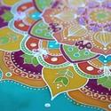 Természet ragyogása, Otthon, lakberendezés, Esküvő, Falikép, Nászajándék, 30x30 cm-es selyemkép fa keretben. Mandala a nyári napsütés és virágzó mező üde színeiben...., Meska