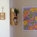 Égikert, Otthon, lakberendezés, Esküvő, Falikép, Selyemfestés, 50x70 cm-es selyemkép légies, tavaszi színárnyalatokkal, mintákkal, arany díszítéssel., Meska