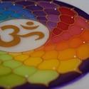 Csakra színkör (25 cm-es mandala), Dekoráció, Esküvő, Otthon, lakberendezés, Falikép, 25 cm átmérőjű  selyem mandala a Korona csakra csodaszép szimbólumával.  Ez a mandala a test 7 csakr..., Meska