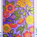 Tavaszi virágok, Otthon, lakberendezés, Esküvő, Falikép, 50x70 cm-es selyemkép légies, tavaszi színárnyalatokkal, mintákkal, arany díszítéssel., Meska