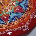 Mediterránkert 35 cm-es, Dekoráció, Esküvő, Otthon, lakberendezés, Falikép, Selyemfestés, 35 cm-es selyemkép nyári élénk piros, napsárga és mandarin árnyalatokban kis égkékkel és smaragddal..., Meska