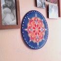 Boróka, Esküvő, Otthon, lakberendezés, Dekoráció, Nászajándék, Selyemfestés, 25 cm átmérőjű fém karikára feszített selyem mandala, amely falra akasztható díszként remek lakásde..., Meska