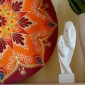 Energizáló tűzmandala, Dekoráció, Otthon, lakberendezés, Kép, Falikép,  30 cm-es mandala a késő őszi erdő narancsos, pirosas faleveleinek és az izzó galagonya bordó színei..., Meska