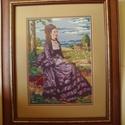 Lilaruhás nő, Dekoráció, Otthon, lakberendezés, Kép, Gobelin, Szinyei Merse Pál híres festményének, a Lilaruhás nőnek, saját készítésű goblein változata. A kézimu..., Meska
