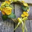 Öröm óda-sárga rózsa ajtódísz,kopogtató,koszorú-romantika jegyében, Dekoráció, Otthon, lakberendezés, Dísz, Ajtódísz, kopogtató, A tavaszi kert szépítéssel nagyon sok ágak ,gallyak maradtak .Hasznos darabok készültek,vessző alapo..., Meska