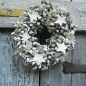 WHITE-téli,  vintage,karácsonyi ajtódísz,koszorú,kopogtató,,asztaldísz,falidísz, Dekoráció, Karácsonyi, adventi apróságok, Karácsonyi dekoráció, Ünnepi dekoráció, Koszorú, Ajtódísz, kopogtató, Gyönyörű fehér vintage téli- karácsonyi ajtódísz,falidísz,de asztalközépre is alkalmas dekorációt ké..., Meska