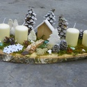 Téli tájkép-Karácsonyi,adventi  koszorú asztaldísz,asztalközép, Dekoráció, Otthon, lakberendezés, Asztaldísz, Ünnepi dekoráció, Téli adventi asztaldíszem természetes anyagokból készült.A havas ,téli erdőben érezheted magad ha rá..., Meska