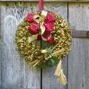 Ünnepi Karácsonyi,adventi koszorú,kopogtató, ajtódísz, Dekoráció, Otthon, lakberendezés, Karácsonyi, adventi apróságok, Karácsonyi dekoráció, Koszorú, Ajtódísz, kopogtató, Tartós karácsonyi ajtódísz,aranyra festett sáfrányból,nagy masni és egy kerámia dísz teszi ünnepivé...., Meska