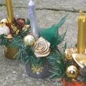 """Karácsonyi asztaldíszek, Dekoráció, Ünnepi dekoráció, Asztaldísz, Karácsonyi, adventi apróságok, Aranyos kis asztaldíszek díszithetik otthonod  méret magasság:17cm            átmérő:7cm """"kaspó-össz..., Meska"""