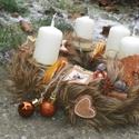 SZŐRMÉS adventi ,karácsonyi koszorú,asztaldísz, Dekoráció, Ünnepi dekoráció, Koszorú, Asztaldísz, Újrahasznosított alapanyagból készült termékek, Virágkötés, Advent idején illatos asztaldísz, A karácsonyi illat-,fahéj,ánizs,narancscsal díszitve méret 25cm, Meska