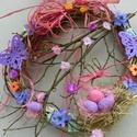 Mandulavirágzás-színes tavaszi-húsvéti ajtódísz,koszorú, Otthon, lakberendezés, Dekoráció, Ajtódísz, kopogtató, Dísz, Virágkötés,     Tavasztól nincs szebb évszak. Tavaszi virágok, a fák kezdik bontani virágaikat Vessző alapra ke..., Meska