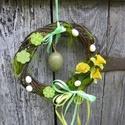 Nárcisz virágzás tavaszi,húsvéti ajtódísz,koszorú,kopogtató, Dekoráció, Húsvéti díszek, Otthon, lakberendezés, Ajtódísz, kopogtató, Tavaszi,húsvéti ajtódíszt készítettem   Tartós,örök díszed lehet.  méret 24-25cm  , Meska