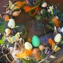 Húsvéti,tavaszi ajtódísz,koszorú,asztaldísz l, Dekoráció, Otthon, lakberendezés, Húsvéti díszek, Ajtódísz, kopogtató, Virágkötés, Újrahasznosított alapanyagból készült termékek,  húsvéti lakásdekoráció ajtódísz 25cm   koszorú2560.- -, Meska