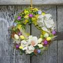 Kikelet- tavaszi,húsvéti ajtódísz.koszorú,kopogtató, Otthon, lakberendezés, Dekoráció, Ajtódísz, kopogtató, Dísz, Virágkötés, Mindenmás, -Tavaszi,húsvéti díszítés.,virággal,tojással. méret 25cm  , Meska