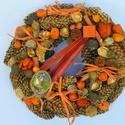 Narancs-barna-termés koszorú,kopogtató,ajtódísz, Dekoráció, Otthon, lakberendezés, Dísz, Ajtódísz, kopogtató, Ősz szineivel készült díszem  méret 28cm, Meska