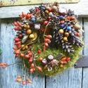Természet lágy ölén-őszi termés koszorú,ajtódísz,kopogtató, Dekoráció, Otthon, lakberendezés, Ajtódísz, kopogtató, Dísz, Imádom az ősz pompázatosabbnál-pompázatosabb változatos termések megtalálhatók,a természetben. Az öt..., Meska