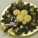 FEHÉR karácsony adventi koszorú,asztaldísz dekoráció, Dekoráció, Ünnepi dekoráció, Karácsonyi, adventi apróságok, Karácsonyi dekoráció, Egyszerű,természetes,adventi,téli asztaldísz díszitheti otthonod. méret 30cm arany tányér, Meska