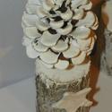 Zúzmarás erdő asztaldísz, téli dekoráció , Dekoráció, Ünnepi dekoráció, Karácsonyi, adventi apróságok, Karácsonyi dekoráció, Természetes anyagok felhasználásával készült  téli díszem,vintage stilusban  méret 10-15cm rönk+tobo..., Meska