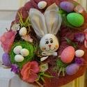 Nyuszi tojásokkal-húsvéti,tavaszi ajtódísz,koszorú,kopogtató, Dekoráció, Húsvéti díszek, Virágkötés, Egyedi, tartós,színes,húsvéti,tavaszi dísz méret 23cm, Meska