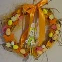 Húsvéti,tojásos nyuszikás ajtódísz,kopogtató,koszorú, Dekoráció, Otthon, lakberendezés, Húsvéti díszek, Ajtódísz, kopogtató, Virágkötés, Fonás (csuhé, gyékény, stb.), A gyönyörű tavaszi napsütés fénye és melege, a kibújó tavaszi virágok,-éled a természet- adta az öt..., Meska