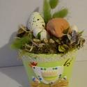 Tavaszi-Húsvéti  zöld asztaldísz, Dekoráció, Húsvéti díszek, egyedi húsvéti asztaldísz  méret teljes mag 23cm átmérő12cm, Meska