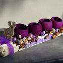 BIBOR lila -karácsonyi,adventi  koszorú asztaldísz,asztalközép, Dekoráció, Otthon, lakberendezés, Karácsonyi, adventi apróságok, Virágkötés, Egyedi,különleges,természetes anyagok felhasználásával készült az asztaldíszem.Ablak párkányra,kand..., Meska