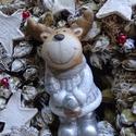 WHITE-rénszarvassal -téli,  vintage,karácsonyi ajtódísz,koszorú,kopogtató,,asztaldísz,falidísz, Karácsonyi, adventi apróságok, Dekoráció, Koszorú, Ajtódísz, kopogtató, Virágkötés, Mindenmás,  fehér vintage téli- karácsonyi ajtódísz,falidísz,dekorációt készítettem.Egész télen megállja helyé..., Meska