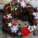 Téli csoda karácsonyi ,adventi ajtódísz,koszorú,kopogtató, Dekoráció, Otthon, lakberendezés, Karácsonyi, adventi apróságok, Ajtódísz, kopogtató, Virágkötés, Természetes anyagok felhasználásával készült az ajtódíszem   méret 29cm, Meska