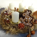 -Mézes kalács- adventi ,karácsonyi koszorú,asztaldísz, Dekoráció, Koszorú, Asztaldísz, Dísz, Advent idején illatos asztaldísz, A karácsonyi illat-,fahéj,ánizs, rénszarvas díszitve méret..., Meska
