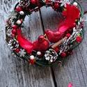 Minden piros madárkával- ajtódísz,kopogtató,falidísz,koszorú, Dekoráció, Otthon, lakberendezés, Ajtódísz, kopogtató, Dísz, Virágkötés, Famegmunkálás, Kedves kis ajándéknak  ajánlom,bármilyen ünnepre. méret -25-28cm , Meska