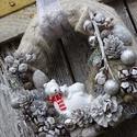 TÉLI vintage-kötött adventi,karácsonyi koszorú,ajtódísz, Dekoráció, Otthon, lakberendezés, Dísz, Ajtódísz, kopogtató, Virágkötés, méret28cm Készül mellé adventi asztaldísz is EGYEDI, Meska