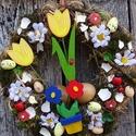 SZINESTavasz-húsvéti ajtódísz,kopogtató,koszorú, Dekoráció, Otthon, lakberendezés, Dísz, Ajtódísz, kopogtató, Egyedi ,színes,vidám,üde,mosolyt csal az ember arcára.Tavaszt idézi.  méret 30-35cm, Meska