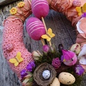 ITT A TAVASZ-színes húsvéti-tavaszi ajtódísz,koszorú,kopogtató, Dekoráció, Otthon, lakberendezés, Dísz, Ajtódísz, kopogtató, ITT A TAVASZ-tavaszt,húsvétot idéző  méret 25cm, Meska
