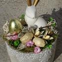 Húsvéti aranyfülű nyúl álmai-húsvéti asztaldísz, Dekoráció, Otthon, lakberendezés, Dísz, Asztaldísz, Virágkötés, tartós húsvéti lakásdekoráció  méret 9cmx17cm kaspó+őssz mag.23cm, Meska