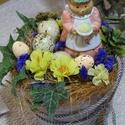 -Húsvéti asztaldísz, Dekoráció, Otthon, lakberendezés, Dísz, Asztaldísz, Húsvétra várva A festett színes cserépbe ,száraz oázis került,cserép körül kócot raktam jelképezvén ..., Meska