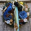 -  A NYÁR-kékmadár-nyári ajtódísz,koszorú,kopogtató, Dekoráció, Otthon, lakberendezés, Dísz, Ajtódísz, kopogtató, Virágkötés, Mindenmás, Nyári ajtódísz méret 26cm, Meska