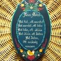 Házi Áldás, Dekoráció, Magyar motívumokkal, Otthon, lakberendezés, Falikép, Mérete: 25* 15,5 *1,5(cm) Fenyőfából készült, sötétkék alapra  festett , matt lakkal lakozott termék..., Meska